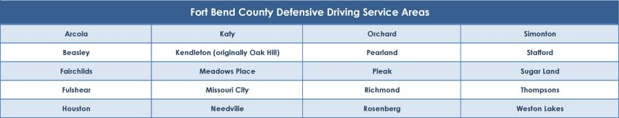 Fort Bend County defensive driving service areas